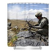 A U.s. Soldier Sets Up A Portable Shower Curtain