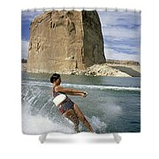A Vacationist Water Skis Shower Curtain