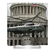 A Vh-60 Helicopter Lands In Front Shower Curtain