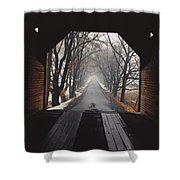 A View Down A Tree-lined Road Shower Curtain