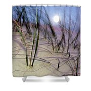 A View Of A Full Moon Rising Shower Curtain