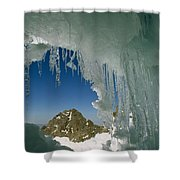 A View Of A Mountain Summit Shower Curtain