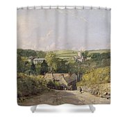 A View Of Osmington Village With The Church And Vicarage Shower Curtain by John Constable
