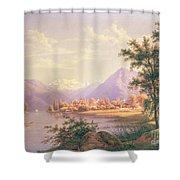 A View Of Scherzingen On The Lake Of Thun Shower Curtain