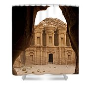 A View Of The Monastary In Petra Shower Curtain