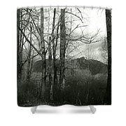 A View Through The Trees Bw Shower Curtain
