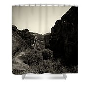 A View To The Monastery Of Roussanou Shower Curtain