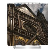 A View Upward At The Duomo Di Orvieto Shower Curtain