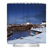 A Village On The Coast Seaton Sluice Shower Curtain
