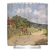 A Village Scene Shower Curtain