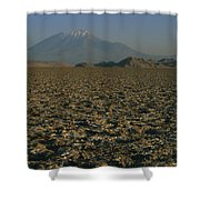 A Volcano Rises Above A Dry Lake Bed Shower Curtain