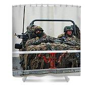 A Vw Iltis Recce Jeep On Guard Shower Curtain