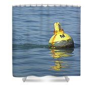 A Water Buoy In The Blue Water Of San Francisco Bay Shower Curtain