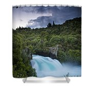 A Waterfall Surrounded By A Forested Shower Curtain