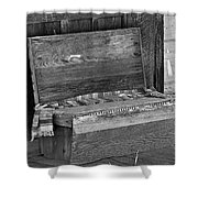 A Weathered Bench Black And White Shower Curtain