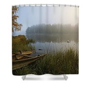 A Weathered Rowboat On The Shore Shower Curtain