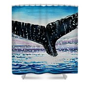 A Whale And A Violet Sunset Shower Curtain