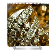 A White Gold Bracelet Among Other Yellow Gold Jewellery Shower Curtain