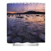 A Winter Sunset At Evenskjer In Troms Shower Curtain by Arild Heitmann