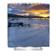 A Winter Sunset Over Tjeldsundet Shower Curtain by Arild Heitmann