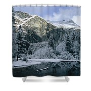 A Winter View Of The Merced River Shower Curtain