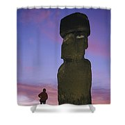 A Woman And A Monolithic Statue Shower Curtain