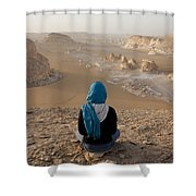 A Woman Sits Quietly On A Cliff Looking Shower Curtain