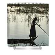 A Woman Stands At The End Of A Rowboat Shower Curtain