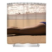 A Woman Sunbathes On The Beach Shower Curtain