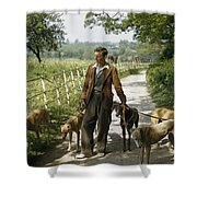 A Woman Talks With A Man Walking Racing Shower Curtain