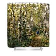 A Woman Walks Down A Birch Tree-lined Shower Curtain