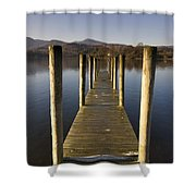 A Wooden Dock Going Into The Lake Shower Curtain