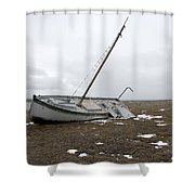 A Wooden Sailboat Is Beached Shower Curtain