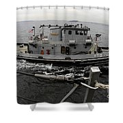 A Yokosuka Naval Tugboat Prepares Shower Curtain