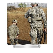 A Young Boy Joins His Squad Leader Shower Curtain