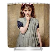 A Young Girl In The Classroom Shower Curtain