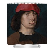 A Young Man In A Red Cap Shower Curtain by Michiel Sittow