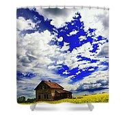 Abandoned Farmhouse In A Canola Field Shower Curtain