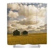 Abandoned Grain Bins With Hail Damaged Shower Curtain