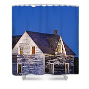 Abandoned House And Moon At Dusk Shower Curtain
