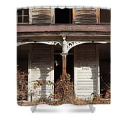 Abandoned House Facade Rusty Porch Roof Shower Curtain