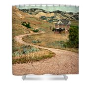 Abandoned House On Dirt Road Shower Curtain