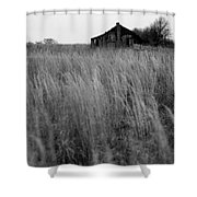 Abandoned Shack Bw Shower Curtain