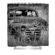 Abandoned Vintage Car Along The Roadside Shower Curtain