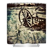 Abandoned Wagon By Old Ghost Town. Shower Curtain