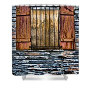 Abandoned Wood Building Shower Curtain