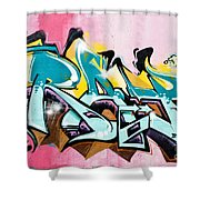 Absrtact  Graffiti On The  Textured  Wall Shower Curtain