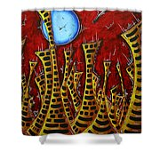Abstract Art Contemporary Coastal Cityscape 3 Of 3 Capturing The Heart Of The City IIi By Madart Shower Curtain