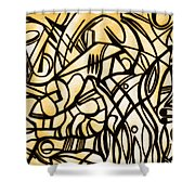 Abstract Art Gold Shower Curtain