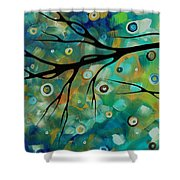 Abstract Art Original Landscape Painting Colorful Circles Morning Blues II By Madart Shower Curtain